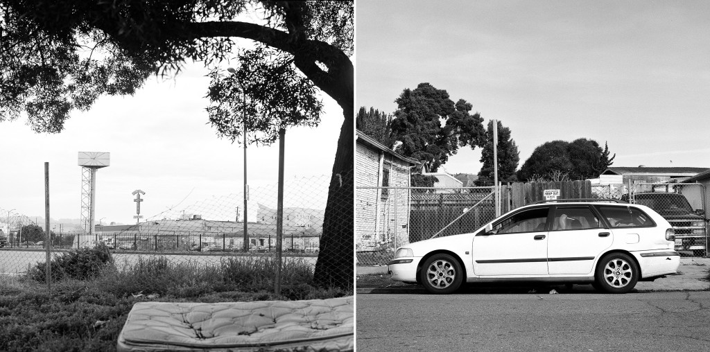 ALISSA AMBROSE/STAT--Left: A view from the East Oakland cul-de-sac where Foreman will spend nights parked in his car. Right: Foreman rests in the front seat of his car, which has become his only consistent shelter.