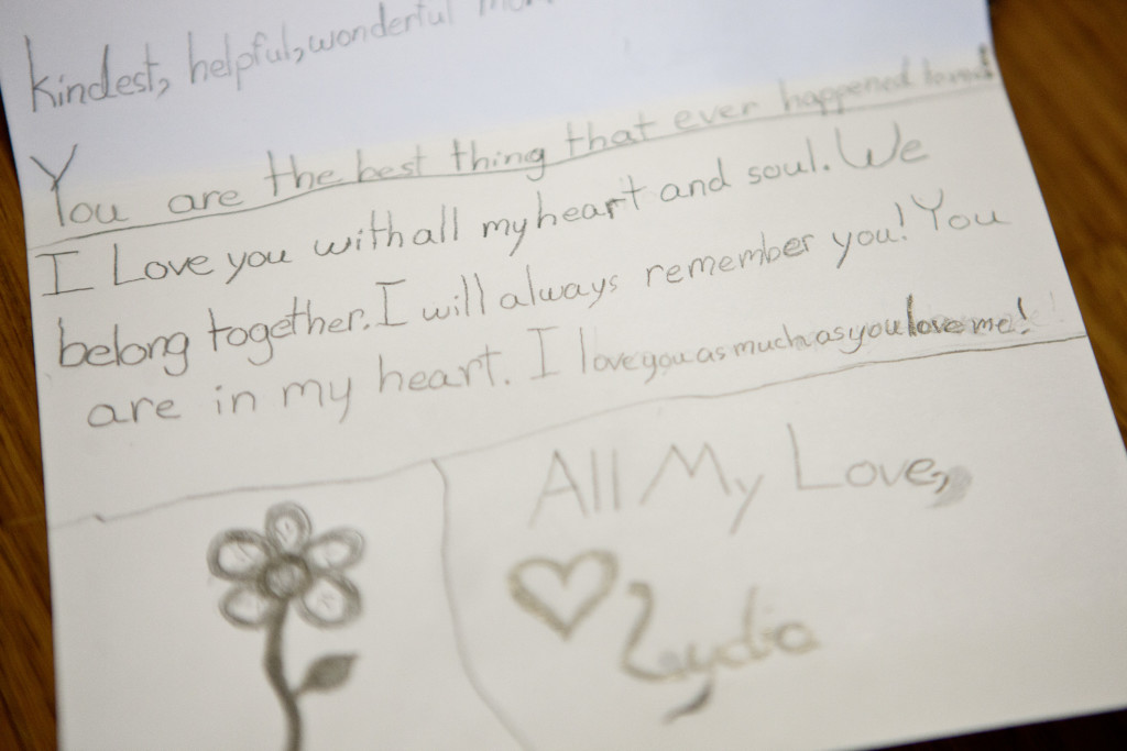 "Portsmouth, NH -- 01/21/16 -- A ""love note"" that Lydia Valdez wrote to her mother, Paula Skelley, 6 weeks before she died. Paula said she wrote her many notes in the various journals that she would draw in everyday while she was sick. (Kayana Szymczak for STAT)"