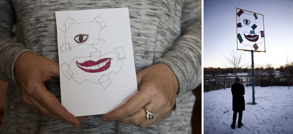 "Left: Skelley displays a drawing that was used to build a memorial sculpture in honor of her daughter. Skelley named the drawing and sculpture ""Smiling Through the Brokenness."" The sculpture is part of ""Lydia's Garden,"" a space dedicated in her memory, located on a section of the playground of her former school, the Little Harbour School in Portsmouth. Right: Skelley stands beneath the memorial sculpture. (Kayana Szymczak FOR STAT)"