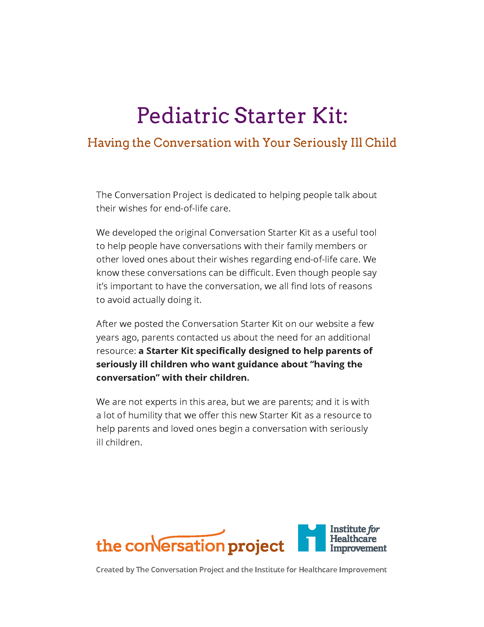 The Conversation Project Starter Kits – Health Care Proxy Form