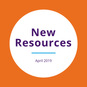 """New resources April 2019"" written on a white circle over an orange background."