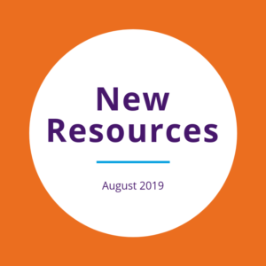"""New resources August 2019"" written on a white circle over an orange background"