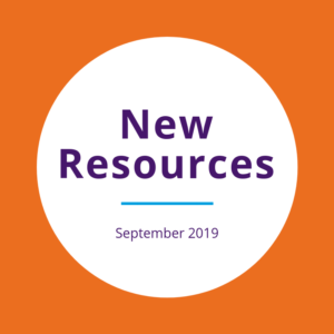 """New resources September 2019"" written on white circle over orange background"