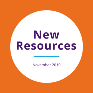 """New resources November 2019"" written on a white circle over an orange background"