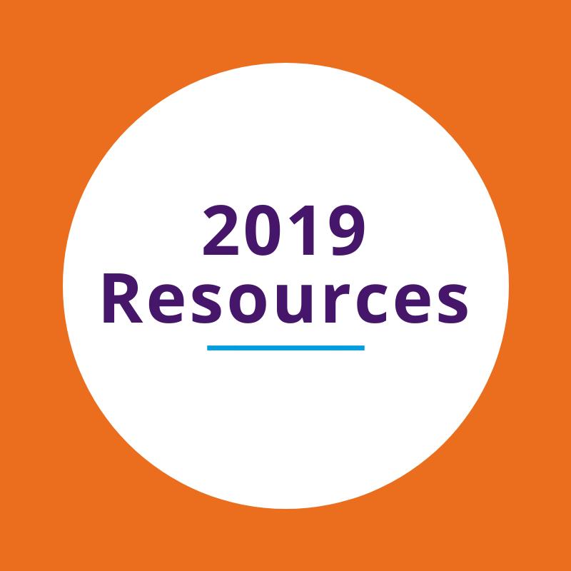 """2019 Resources"" written on a white circle on an orange background"