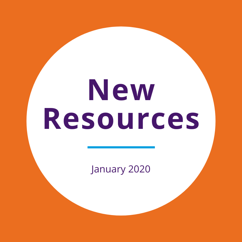 """New resources January 2020"" written on a white circle over an orange background"