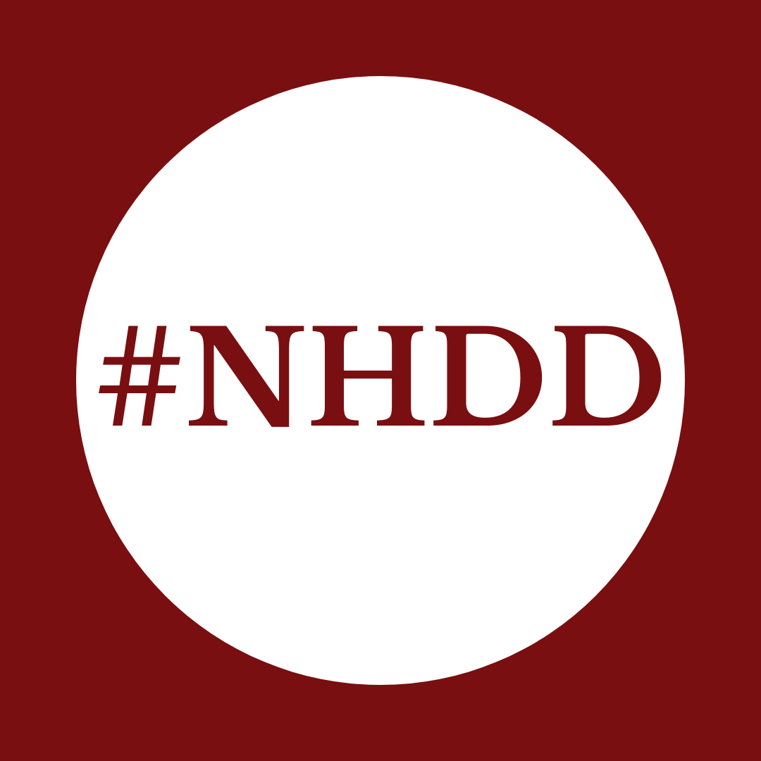 """""""#NHDD"""" written on a white circle over maroon background"""