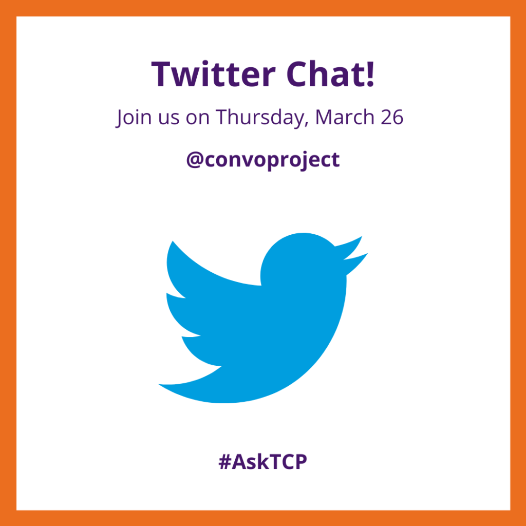 """Twitter Chat! Join us on Thursday March 26"" written above Twitter logo"